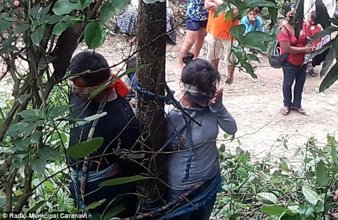 De vrouw en haar twee kinderen, vastgebonden aan de boom in kwestie.