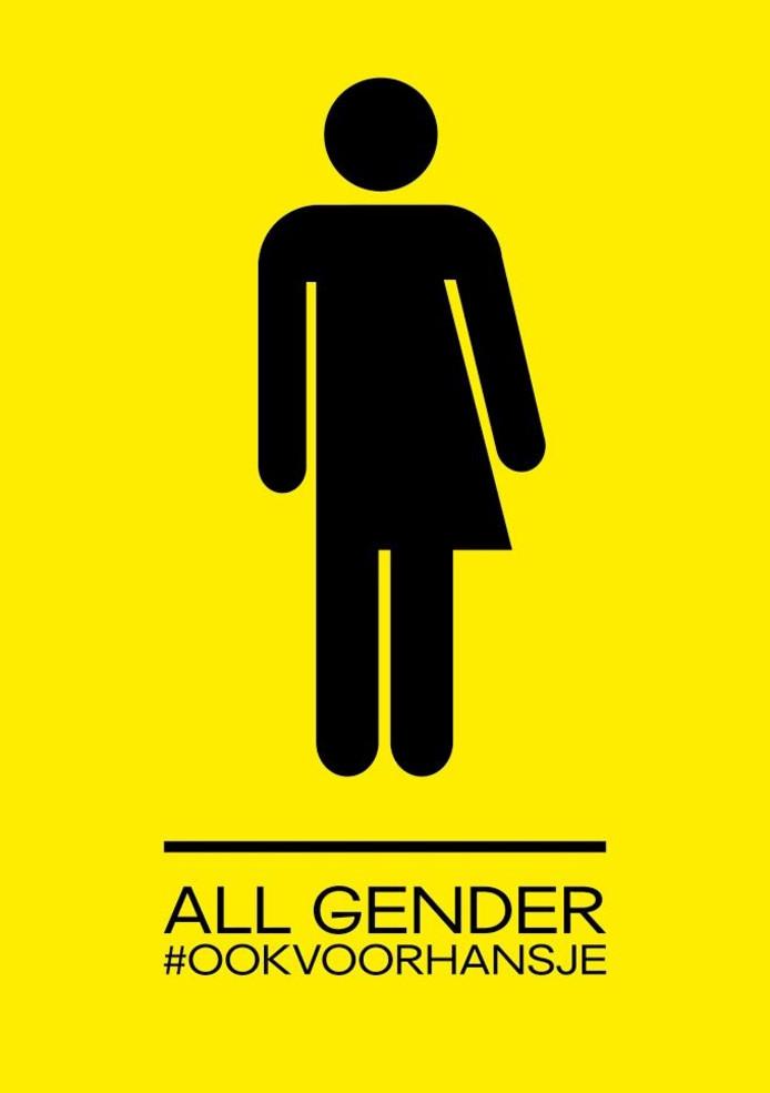 Bordje dat aangeeft dat de toiletten bij Huis Oostpool genderneutraal zijn.