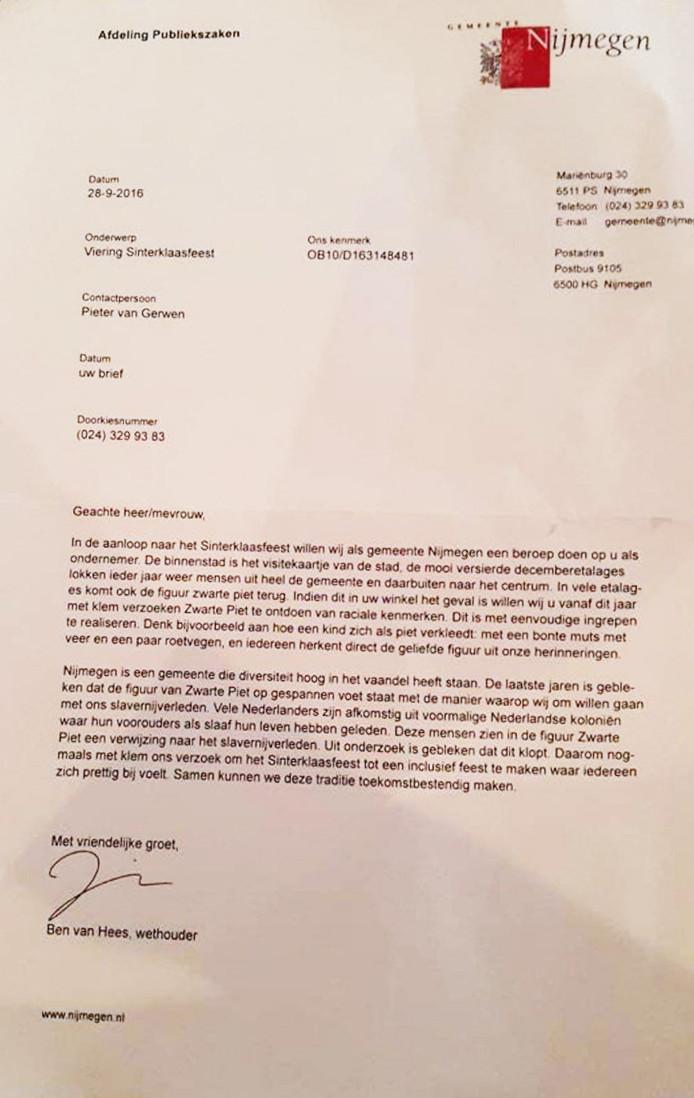 De nep-brief die is verstuurd over het sinterklaasfeest.
