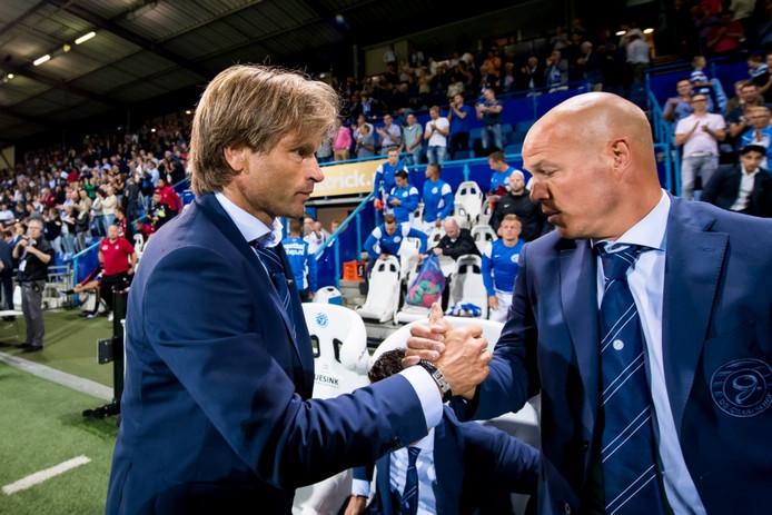 Jan Vreman (links) na de zege op FC Emmen.