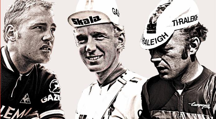 De wielerbroers Van Katwijk met v.l.n.r. Jan, Fons en Piet.