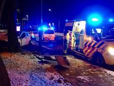 Automobilist botst tegen lantaarnpaal, bord en boom in Arnhem