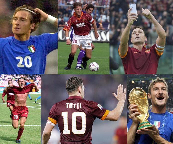 Francesco Totti lo largo de los años.  Las agujas del reloj desde la parte superior izquierda: en 2000 en el Campeonato de Europa en 1999, en 2015 después de un gol contra la Lazio archirrival, como campeón del mundo con Italia en 2006, en 2016 y después de un gol contra el Nápoles en 2001.