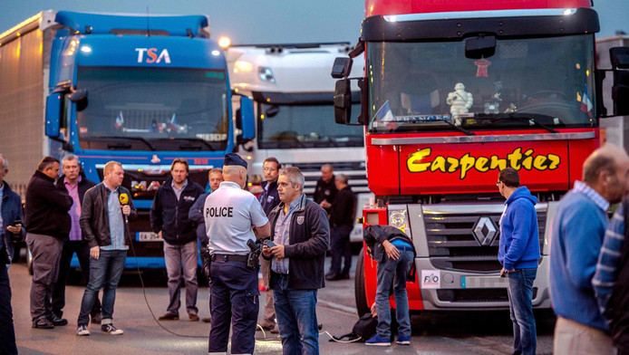 Truckers verzamelen zich voor hun protest