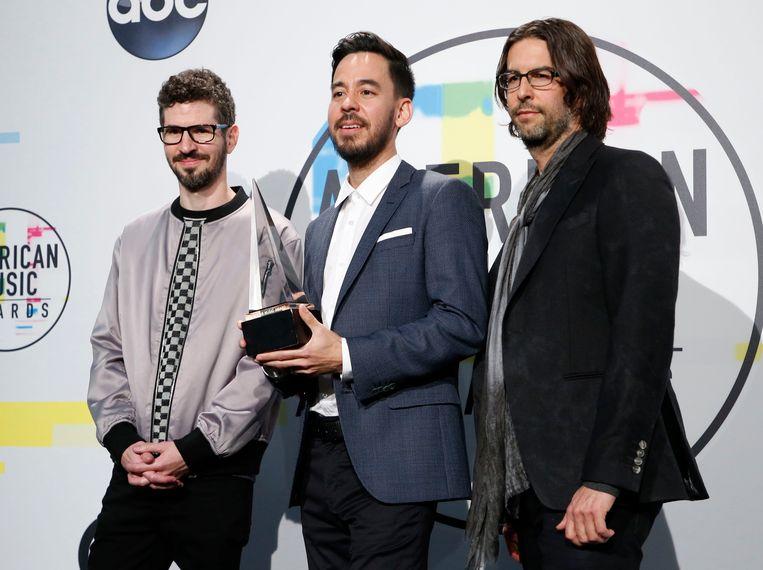 Brad Delson, Mike Shinoda, en Rob Bourbon, de overgebleven leden van Linkin Park.