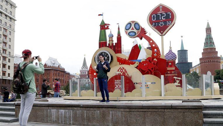 Grote klok bij het Kremlin die aftelt naar de dag dat het WK voetbal begint. Beeld anp