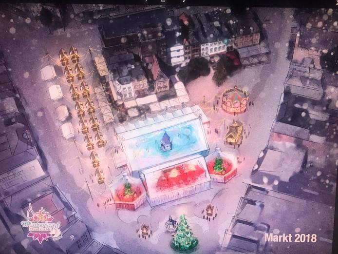 Stichting Winterland Den Bosch stelt voor om de Bossche Markt enkele weken te voorzien van onder meer een ijsbaan rond het puthuis.