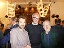 """Oud-Schuimverslaggever Frank Kromer, Roeland Voerman (Ralph) en hoogleraar Steven Schuit. Voerman: """"De deur van deze kerk staat altijd open."""""""