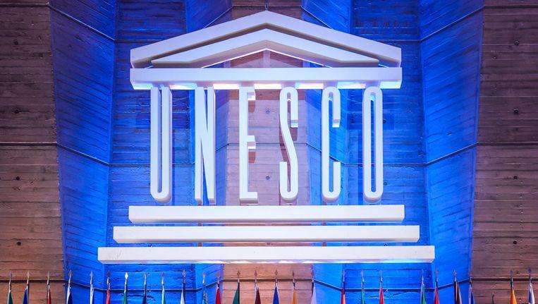 Een congres in het Unesco-hoofdkwartier in Parijs. Beeld EPA