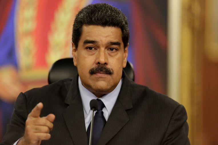 President Nicolas Maduro vorige maand tijdens een persconferentie. Beeld REUTERS