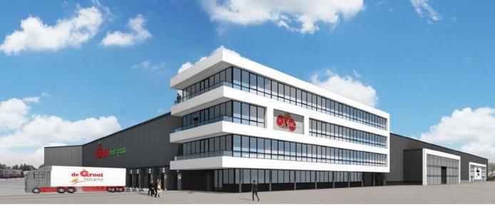 Een impressie van het kantoorgedeelte van De Groot Fresh Group in de ruimtelijke onderbouwing voor bouw van een extra laag op het gebouw.