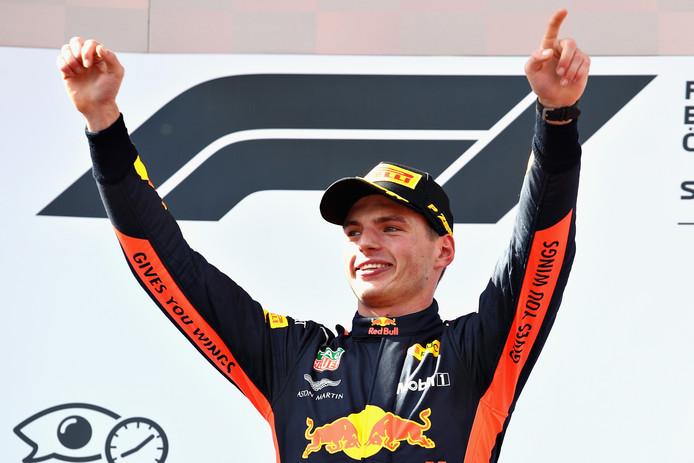 Max Verstappen na zijn winst in Oostenrijk.