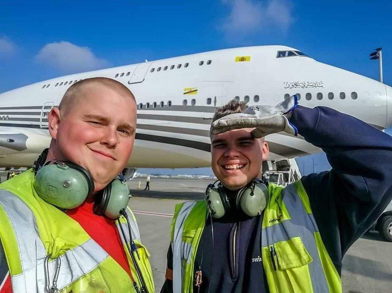 Pushback Mario Debontridder (24) en Jani Buelens (24) voor unieke privéjet Sultan boeing 747-8