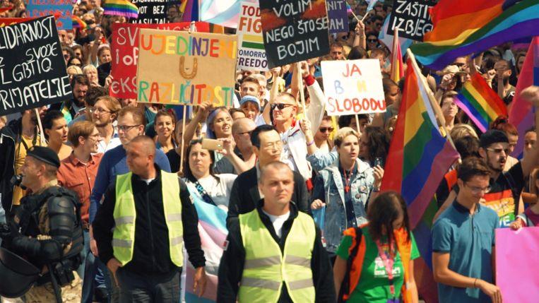 Pride in Sarajevo, waar Verhoeven ook bij was. Beeld AVROTROS