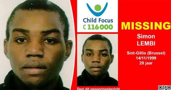 Simon Lembi was twintig jaar vermist. In 2013 verspreidde Child Focus nog een opsporingsbericht.