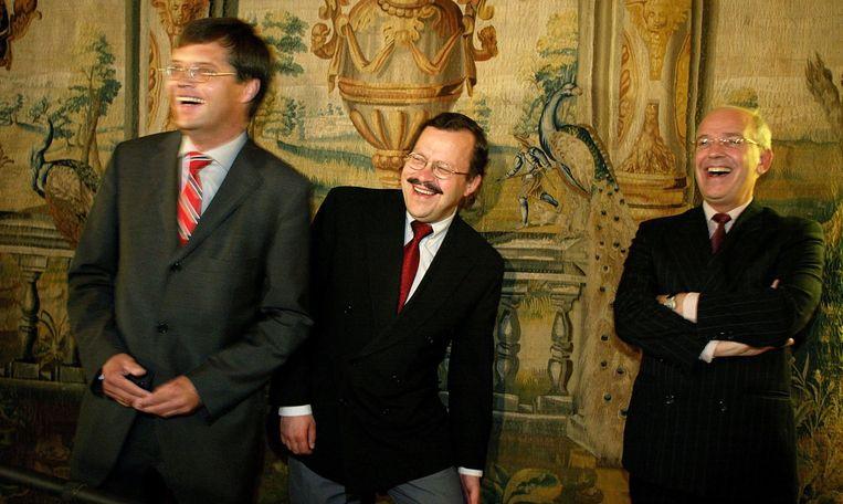 28 juni 2002:  de fractievoorzitters Balkenende (CDA), Herben (LPF) en Zalm (VVD)  presenteren hun regeerakkoord.  Beeld ANP FOTO/Robert Vos