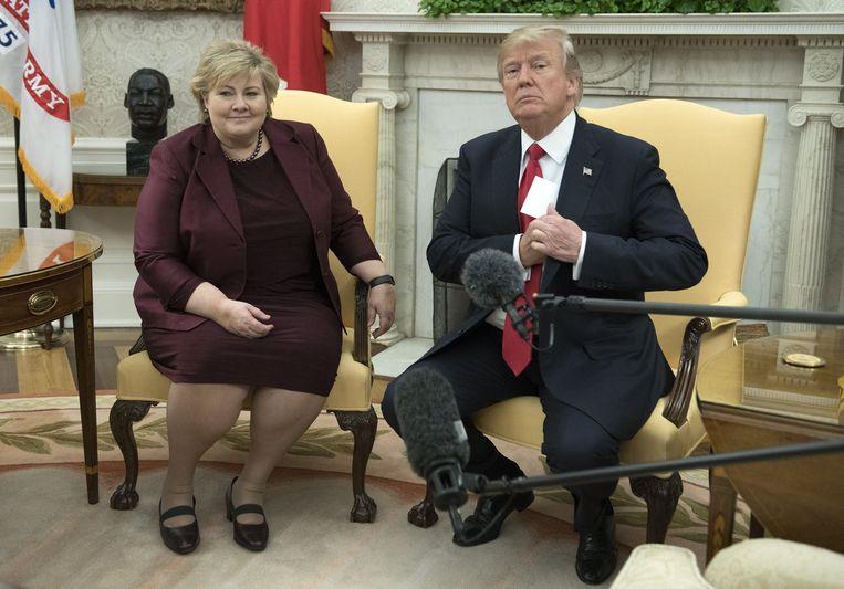 Trump zat woensdag samen met de Noorse eerste minister Erna Solberg.