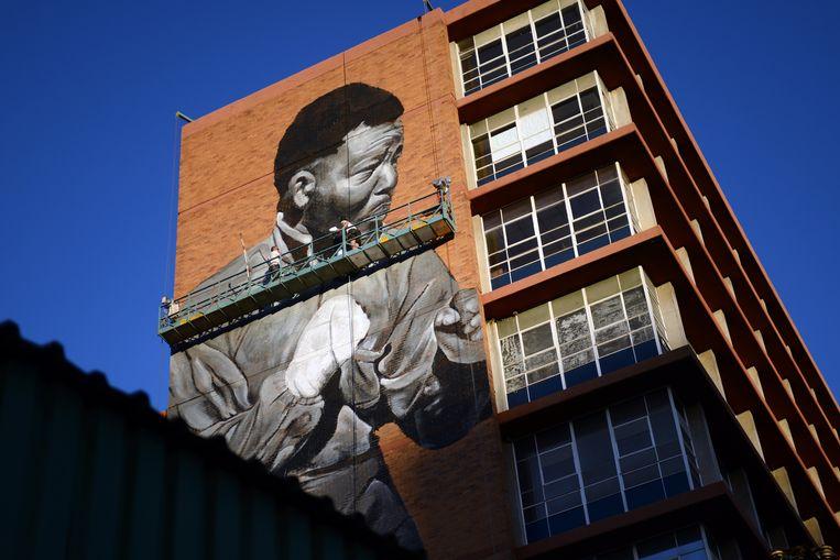 Ter nagedachtenis aan Nelson Mandela schildert kunstenaar Ricky Lee Gordon (Freddy Sam) een 40 meter hoge afbeelding van Mandela op een 9 verdiepingen hoog gebouw in Johannesburg.  Beeld Bram Lammers