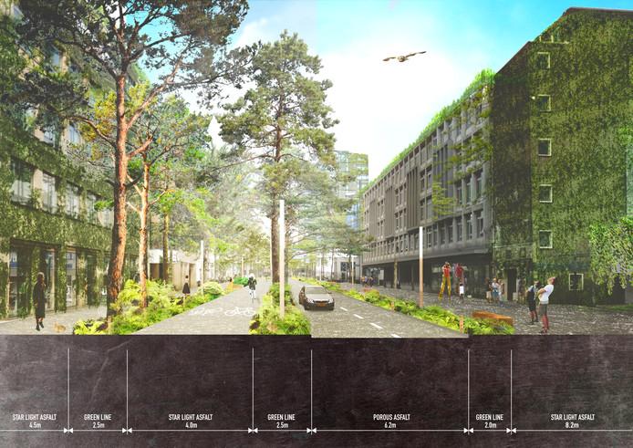 Vestdijk met veel groen. Een beeld dat supervisor Winy Maas graag zou zien op meerdere plekken in de stad