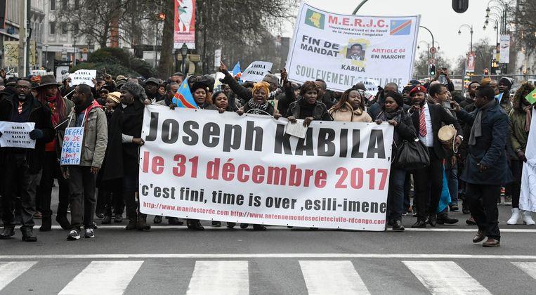 Ook in Brussel wordt geprotesteerd tegen een nieuw mandaat van Kabila.