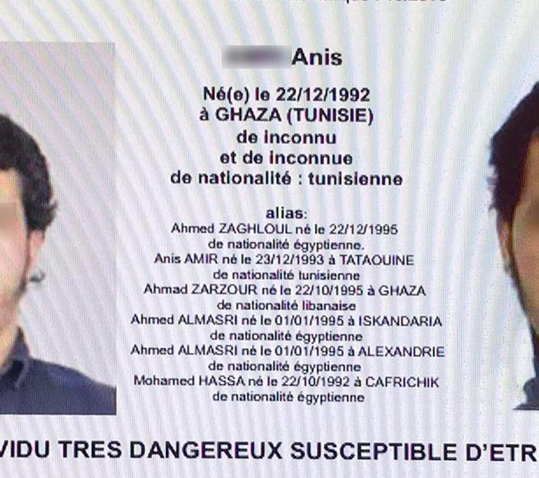 De Franse versie van het opsporingsbevel, met daarop de aliassen van Anis. Beeld afp