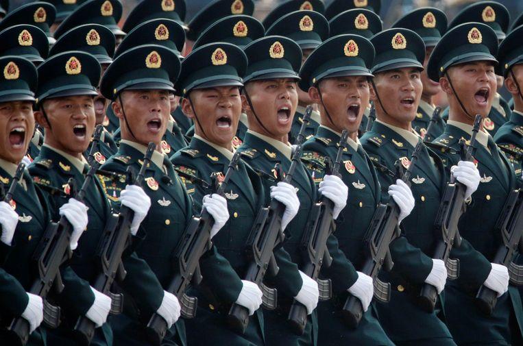 Uitsnede uit een foto van de militaire parade voor de 70ste verjaardag van de Volksrepubliek China. Beeld null