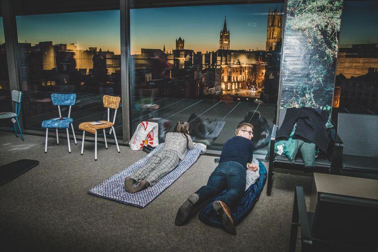 Slapen met een panoramisch zicht op de stad.