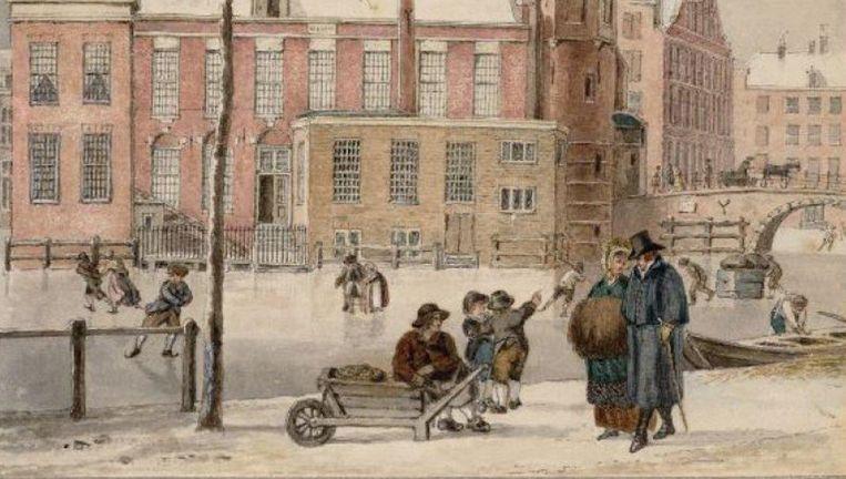 Detail uit Wintergezicht op de Munt, Reinier Vinkeles. Beeld Stadsarchief Amsterdam