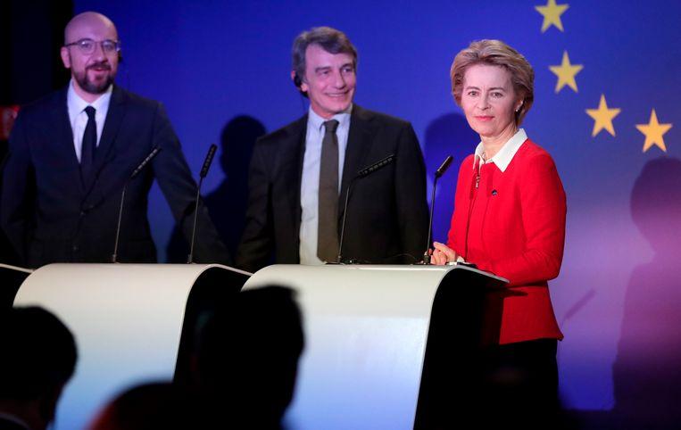 De voorzitters van de drie belangrijkste Europese instellingen: Charles Michel, Ursula von der Leyen en David Sassoli.