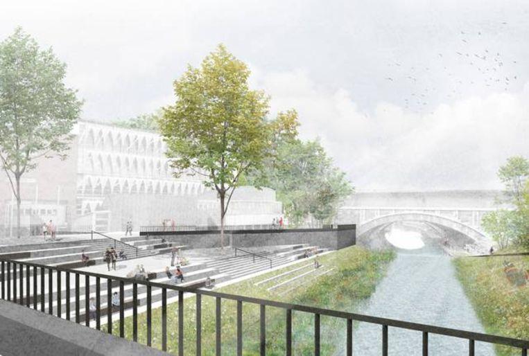 Dit moet het worden: een groen plein, met een bordes langs de Binnendijle.