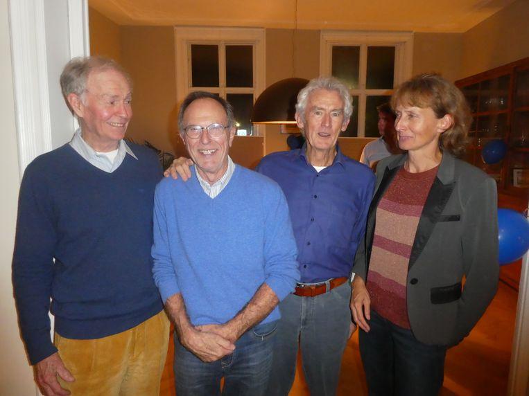 """Founding fathers: Dries Lugt (""""In de uitgeverijen""""), Reinier Bloemer (marketingman), Wim Smit (energiedistributie) en Monica Kwakkelstein (adviseur hernieuwbare energie). Beeld Hans van der Beek"""