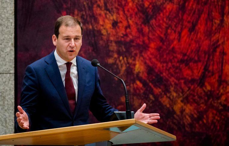 PvdA-leider Asscher kroop met zichtbaar plezier alvast in de rol van oppositieleider. Beeld anp