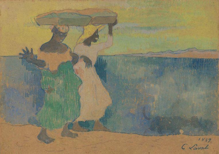 Twee mandendraagsters op Martinique (1889), een gouache op papier op karton van Charles Laval Beeld Van Gogh Museum