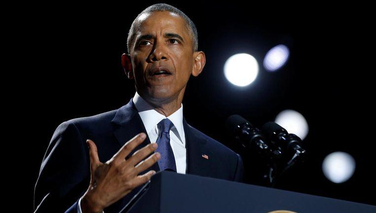 President Obama tijdens zijn afscheidsspeech Beeld reuters