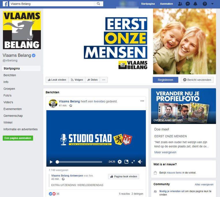 De Facebookpagina van het Vlaams Belang.