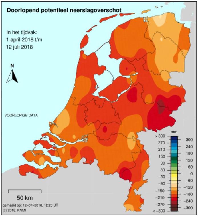 Kaart met neerslagtekort in Nederland.
