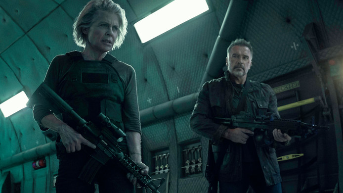 Linda Hamilton en Arnold Schwarzenegger in Terminator: Dark Fate.