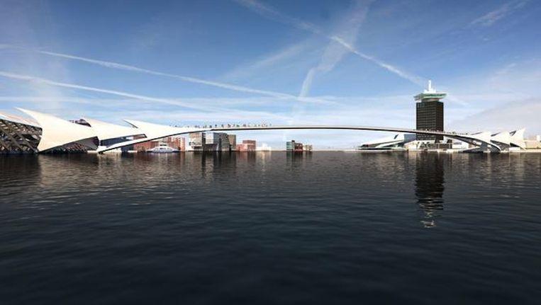 Artist impression van een brug over het IJ. Beeld Cees van Giessen/CIIID