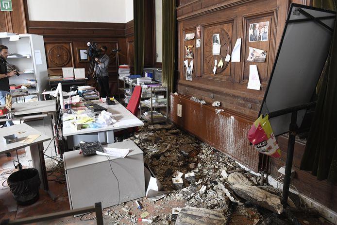 Afgelopen nacht kwam bij de griffie van het Hof van Cassatie een deel van het plafond naar beneden.