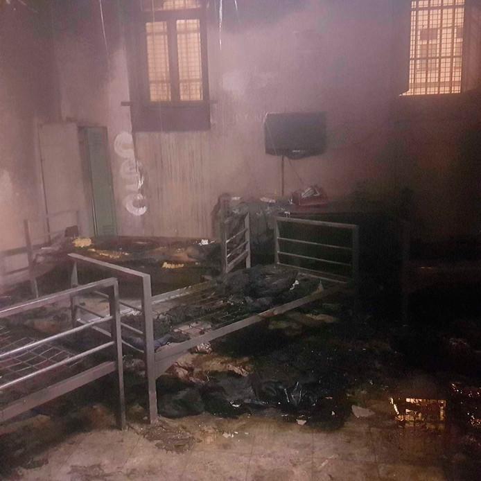 De uitgebrande deportatiecel in Wenen.