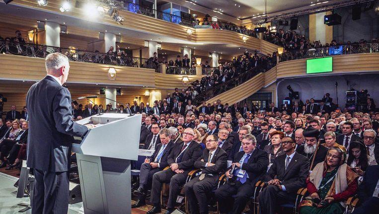 Amerikaanse minister van Defensie Mattis spreekt de conferentie toe Beeld epa