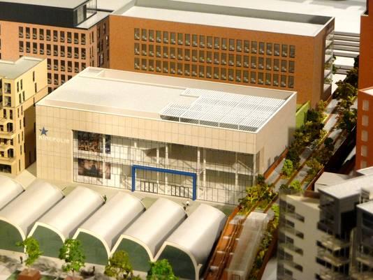 Foto van de maquette van Kinepolis in het infocentrum van het Paleiskwartier