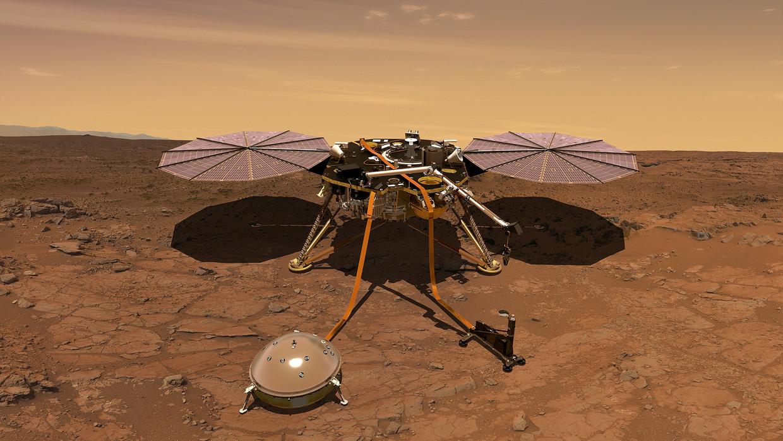 Marslander Insight van Nasa gaat geologisch onderzoek doen op de Rode Planeet.