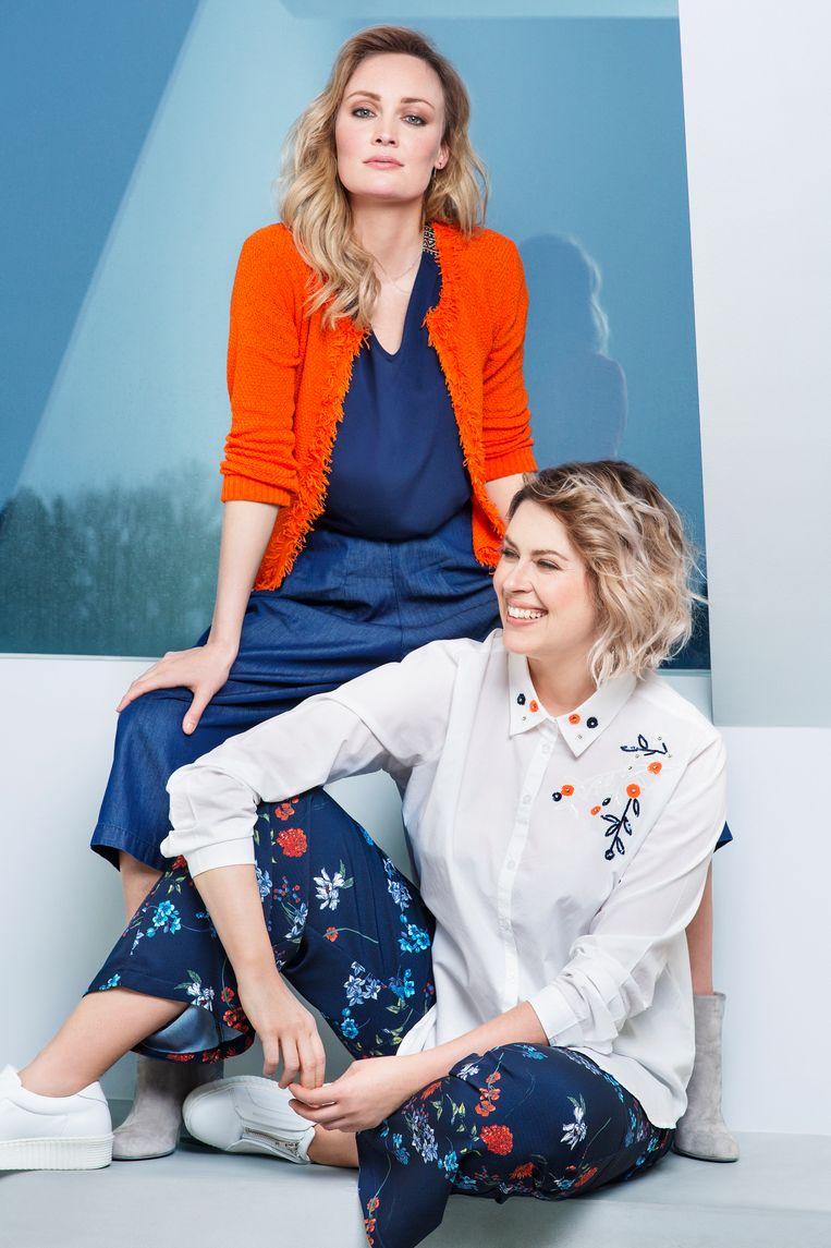 Blauwe top met etnisch detail € 27,99 Klassieke cardigan in oranje €39,99 Jeans culotte € 29,99 Witte blouse met bloemendetail € 29,99 Losse bloemenbroek €37,99