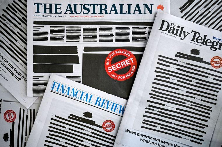 """De voorpagina's van de Australische maandagkranten.  """"Dit is geen campagne voor journalisten"""", twittert Lisa Davies, hoofdredacteur van The Sydney Morning Herald. """"Dit gaat om de Australische democratie."""" Beeld Hollandse Hoogte / EPA"""