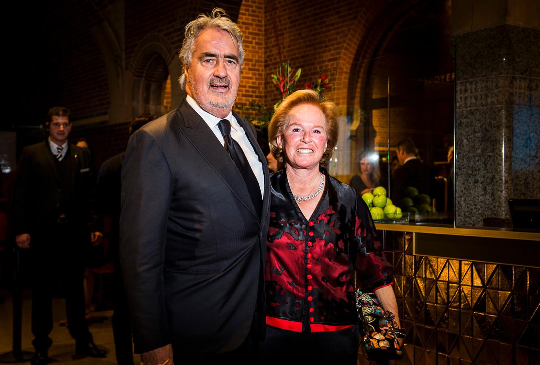 Pieter Storms en Nina Brink arriveerden in 2016 in de Beurs van Berlage voor het Nederlandse Correspondents Dinner.