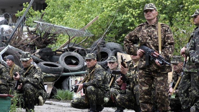 Oekraïense troepen in de zuidelijke havenstad Marioepol.