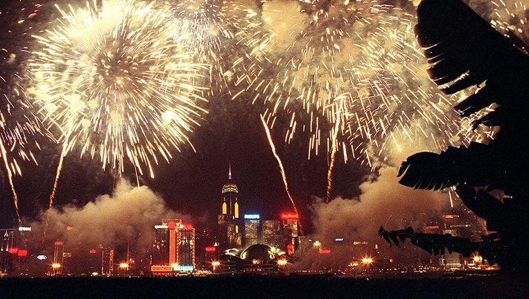 Vuurwerk tijdens het nieuwjaarsfeest in Hongkong. Beeld afp