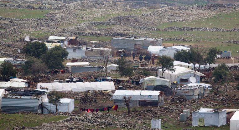 Een Syrisch vluchtelingenkamp net over de Israëlische grens. Beeld epa