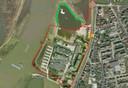 Het bestemmingsplan uit 2018. Met rode lijn gemarkeerd het geplande bestemmingsplan. Een nieuwe rotonde met een inrit richting het parkeerterrein van Abott. De rechte rode lijn richting de IJssel zou de nieuwe dijk moeten zijn. De groene lijn daaromheen is de huidige situatie, waarbij de dijk met een kronkel verlegd is.